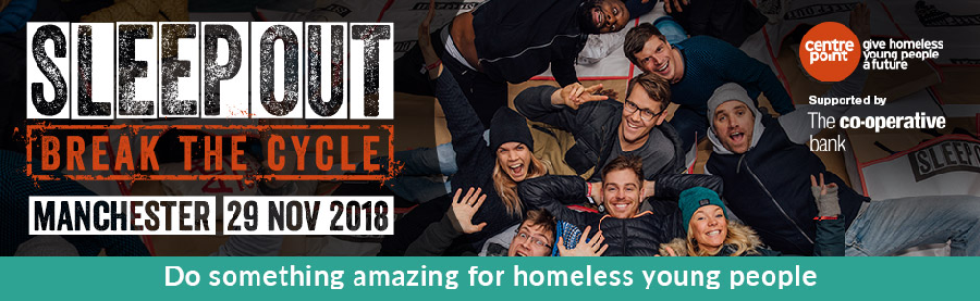 sleep out manchester 2018 centrepoint. Black Bedroom Furniture Sets. Home Design Ideas
